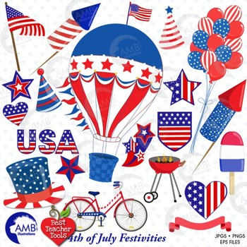 Fourth of July Clipart, Independence Day, July 4th Party C