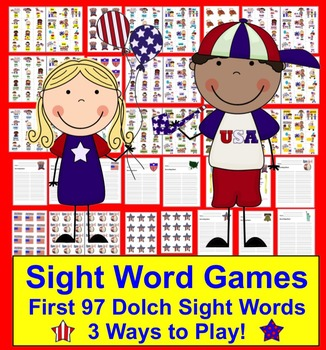 Fourth of July Literacy Activities:  Dolch Sight Words Cen