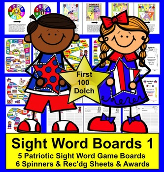 Fourth of July Literacy Activities:  Dolch Sight Words Gam