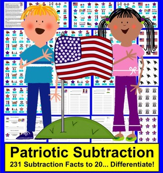 Fourth of July Math Activities-231 Subtraction Facts to 20