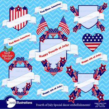 Fourth of July Clipart, Independence Day Flags and Frames
