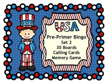 Fourth of July USA Patriotic Bingo Dolch Pre-Primer Words