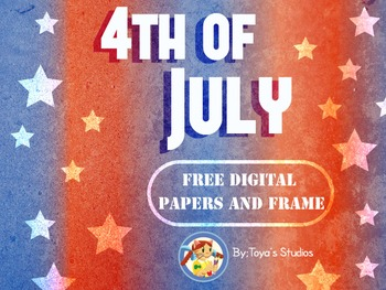 Fourth of July-free digital papers and frame