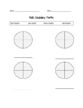 Fourths Fraction Vocabulary