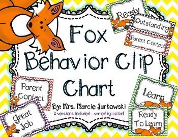 Fox Behavior Clip Chart Chevron Theme Back to School Class