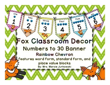 Fox Theme Chevron Printable Number Line Pennant Banner Cla