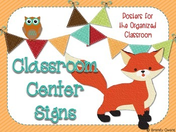Fox Theme Classroom Center Signs Poster Set