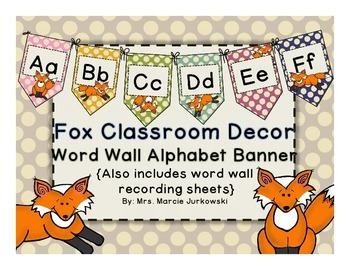 Fox Theme Polka Dot Printable Word Wall Alphabet Banner Pe