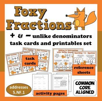 Foxy Fractions - adding/subtracting unlike denominators ta