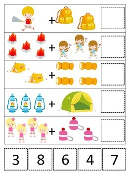 Camping themed Math Addition preschool printable game.  Da