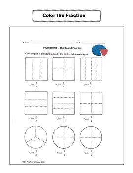 Fraction Activities Worksheets 2nd, 3rd and 4th Grade Comm