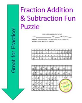 Fraction Add and Subtract Fun Puzzle Worksheet with Differ