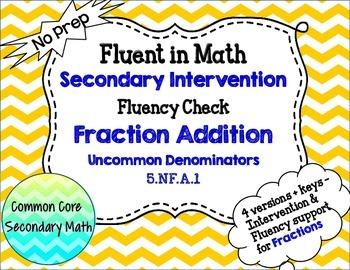 Fraction Addition Uncommon Denominators : RTI Intervention