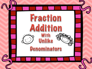 Fraction Addition with Unlike Denominators Task Cards