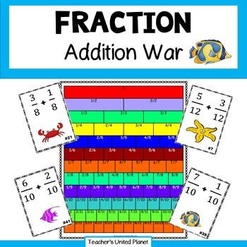 Fraction Games - Fraction Addition War and Task Cards!