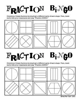 Fractions/Equal Shares BINGO 2 (customizable/fillable halv