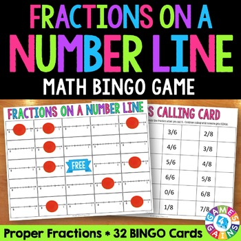 Fractions on a Number Line Bingo: A Fractions Game