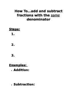 Fraction Booklet: Steps to remembering all the fraction fun!