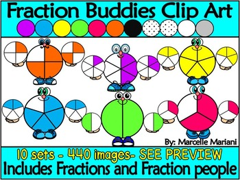 Fraction Buddies and Fractions Clip Art (440 images) Comme