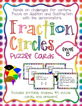 Fraction Circles Puzzle Cards Level B