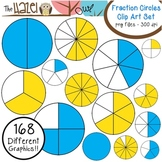 Fraction Circles Set: Clip Art Graphics for Teachers {Blue