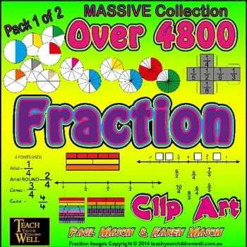 Fraction Clip Art - Pack 1of2 - Over 4800 PNG Graphics (MA