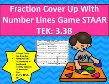 Fraction Cover Up With Number Lines Game STAAR TEK: 3.3B