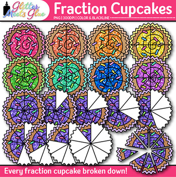 Cupcake Fraction Clip Art {Math Graphics for Games and Wor