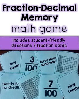 Fraction-Decimal Memory Game