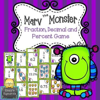 Fraction, Decimal Percent Game- Marv the Monster (SOL 6.2