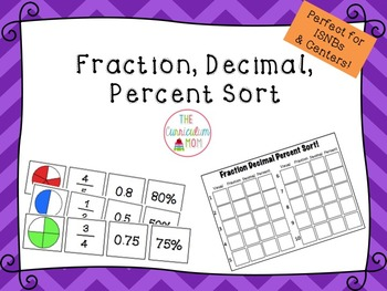 Fraction, Decimal, Percent Sort (For ISNBs and Centers!)