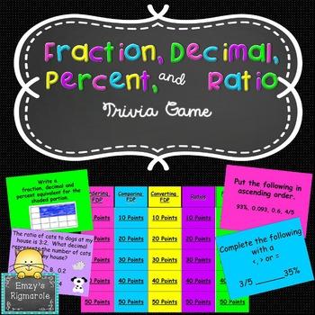 Fraction, Decimal, Percent and Ratio- Trivia Game (SOL 6.1
