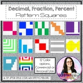 Fraction, Decimal, Percent Squares w/Patterns {TEKS 4.2G, E & F}