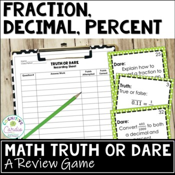 Fraction, Decimal, and Percent Truth or Dare Review Game