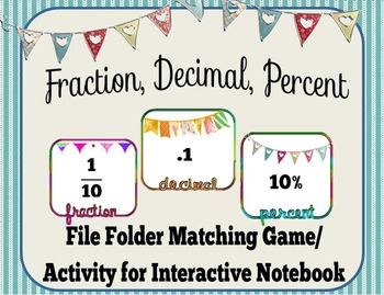 Fraction, Decimals, & Percents File Folder Game/ Interacti