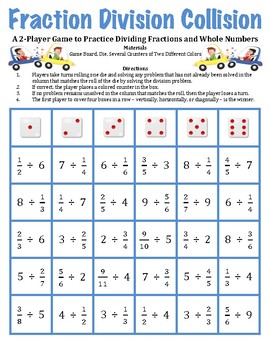 Fraction Division Collision -A Game to Divide Fractions an
