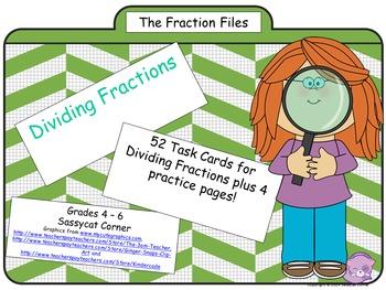 Fraction Files - Dividing Fractions Task Cards