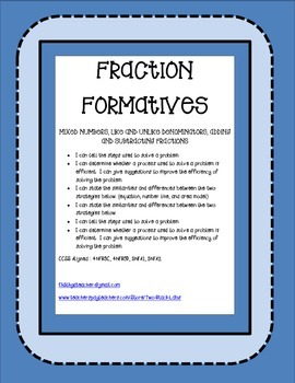 Fraction Formatives: Adding & Subtracting Fractions/ Like