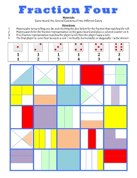 Fraction Four - A 2-Player Game to Identify Fractional Parts