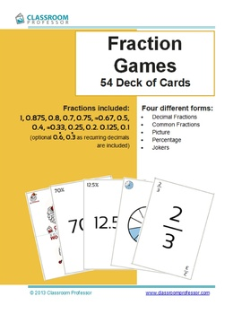 Fraction Game - Deck of Cards