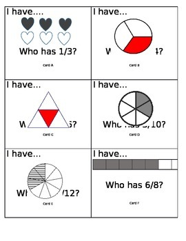 Fraction Game:  I Have...Who Has?