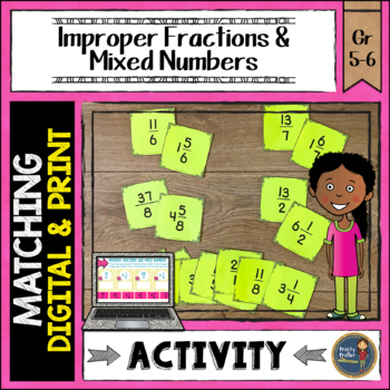 Fraction Match Improper Fractions and Mixed Numbers