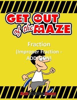 Fraction Maze - Improper Fraction ADDITION