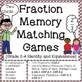 Fraction Games: Memory Matching (Grade 2-4 Identity and Eq