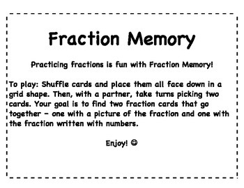 Fraction Memory (for halves, thirds, and fourths)