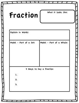 Fraction Model Worksheet