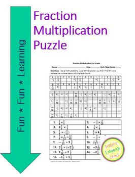 Fraction Multiplication Fun Puzzle Worksheet with Differen