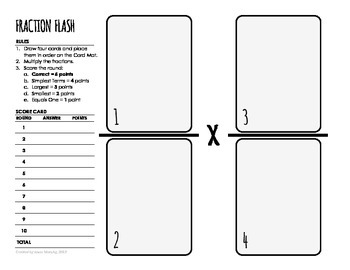 Fraction Multiplication Game Card Mat