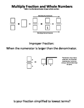 Fraction Multiplied by Whole numbers Template