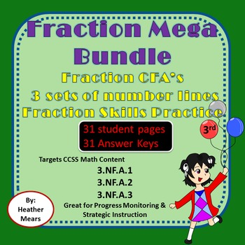Fraction Bundle  Number Lines CFA's Fraction Skills  Fract